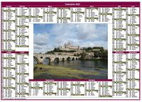 Calendrier 2017 annuel paysage style postes