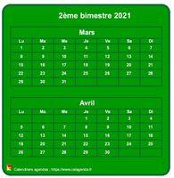 Calendrier à imprimer bimestriel, format mini de poche, vertical, fond vert