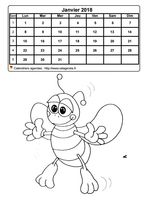 Calendrier mensuel à colorier