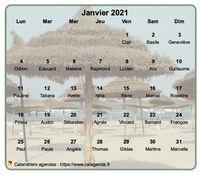 Calendrier mensuel à imprimer, en transpatence sur une photo