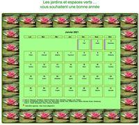 Calendrier mensuel, cadre avec motifs nénuphars