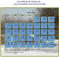 Calendrier mensuel, avec photo, paysage hivernal