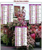 Calendrier semestriel fête des fleurs à Madère
