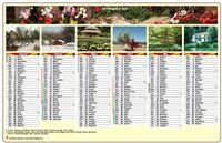 Calendrier semestriel en colonnes avec une photo différente chaque mois
