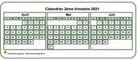 Calendrier à imprimer trimestriel, format mini de poche, blanc