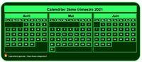 Calendrier à imprimer trimestriel, format mini de poche, vert